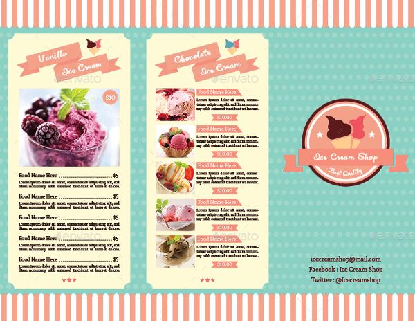 trifold ice cream menu template