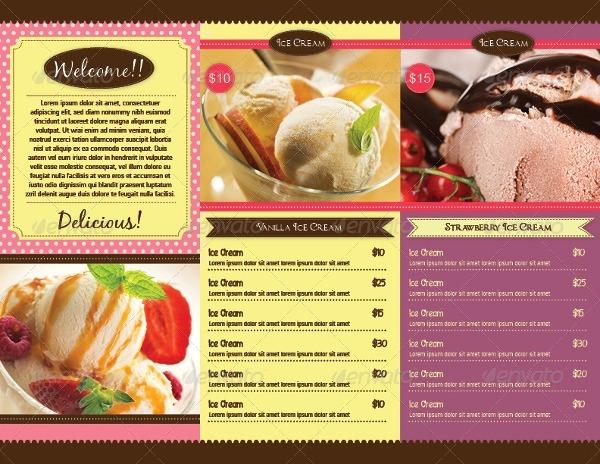trifold ice cream menu