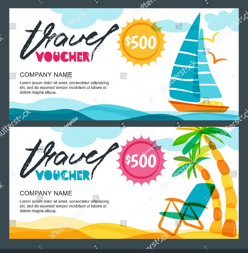 tropical travel voucher template