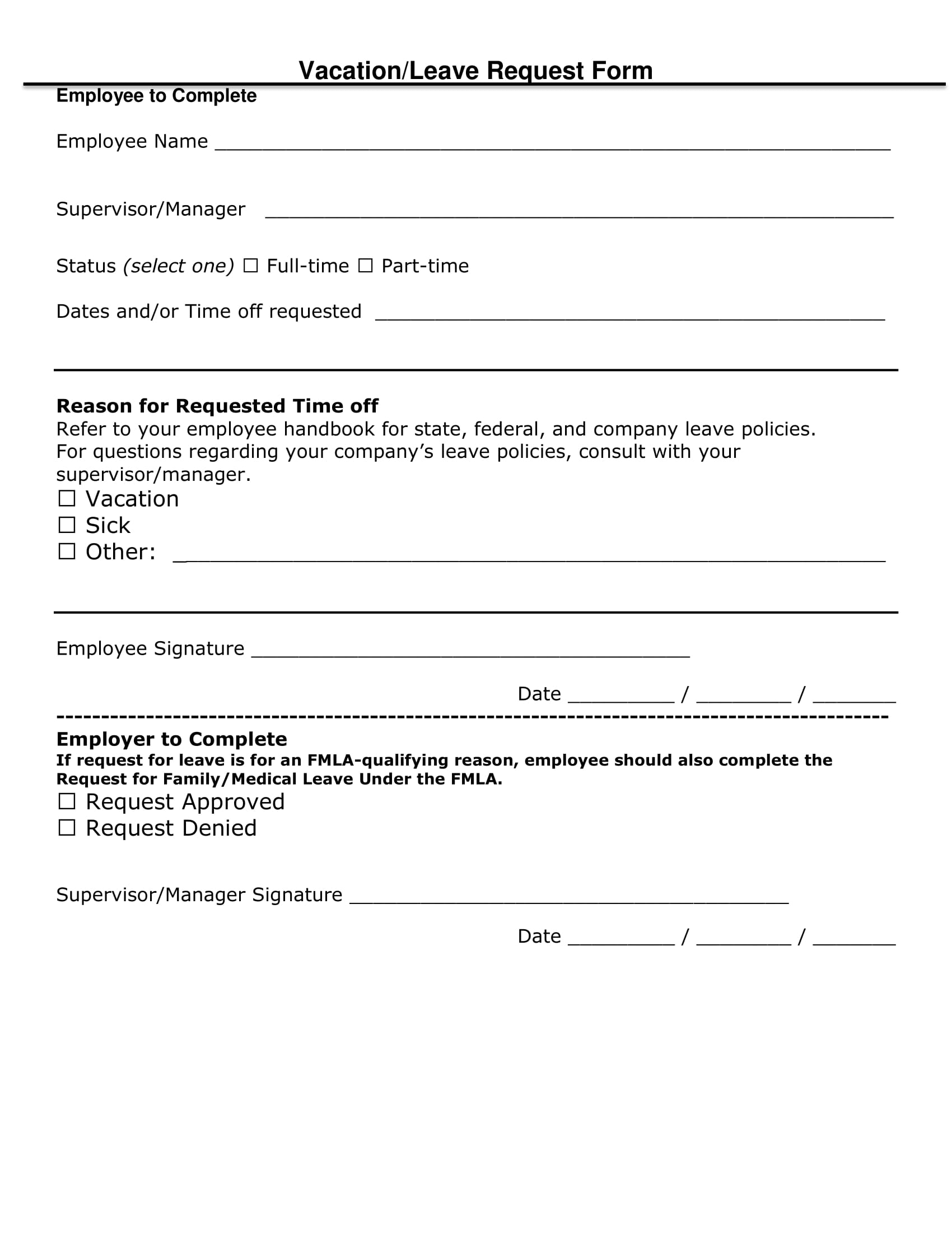 vacation leave request form