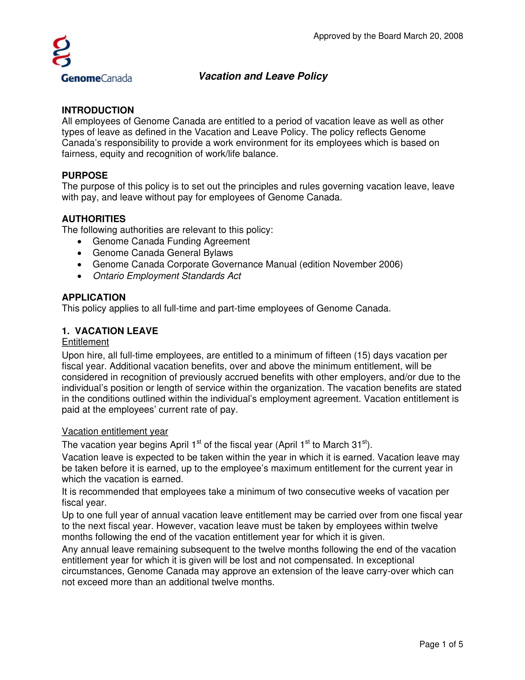 9 Vacation Policy Examples Pdf