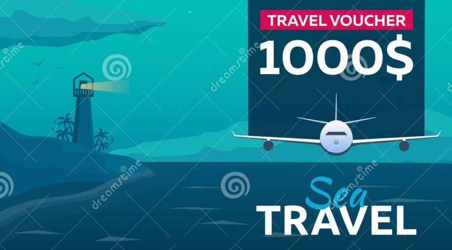 vector travel voucher design example