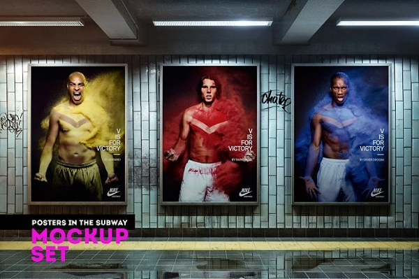 vertical posters in the subway mockup set