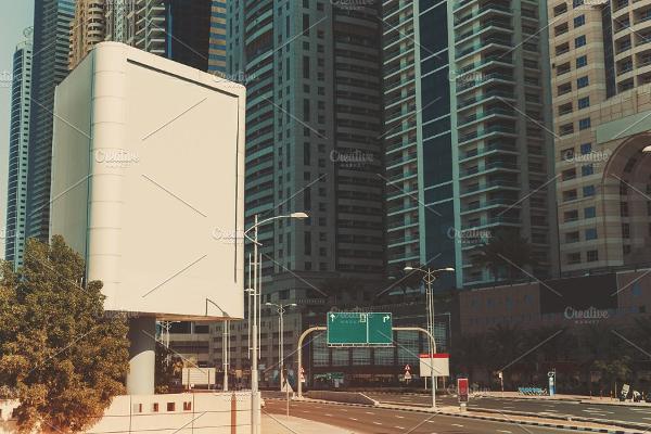 vertical white advertising billboard