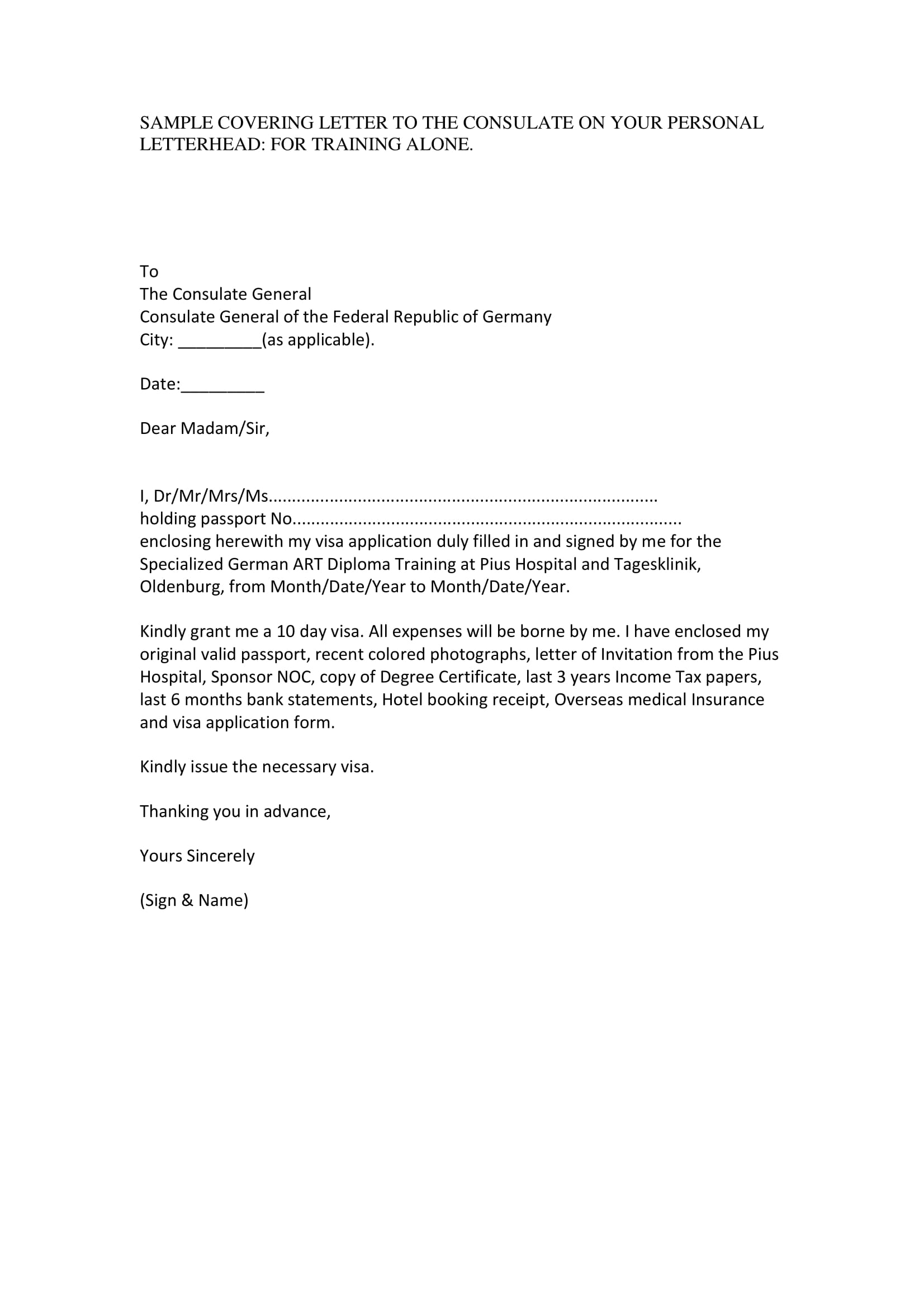 visa application cover letter sample 1