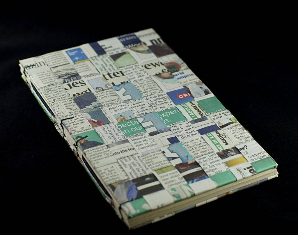weaved newspaper notebook cover