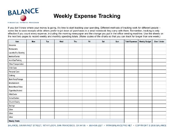 weekly expense tracking sheet example