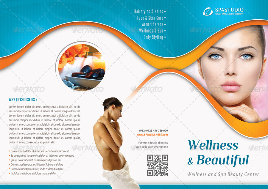 wellness and spa beauty center sample tri fold brochure example