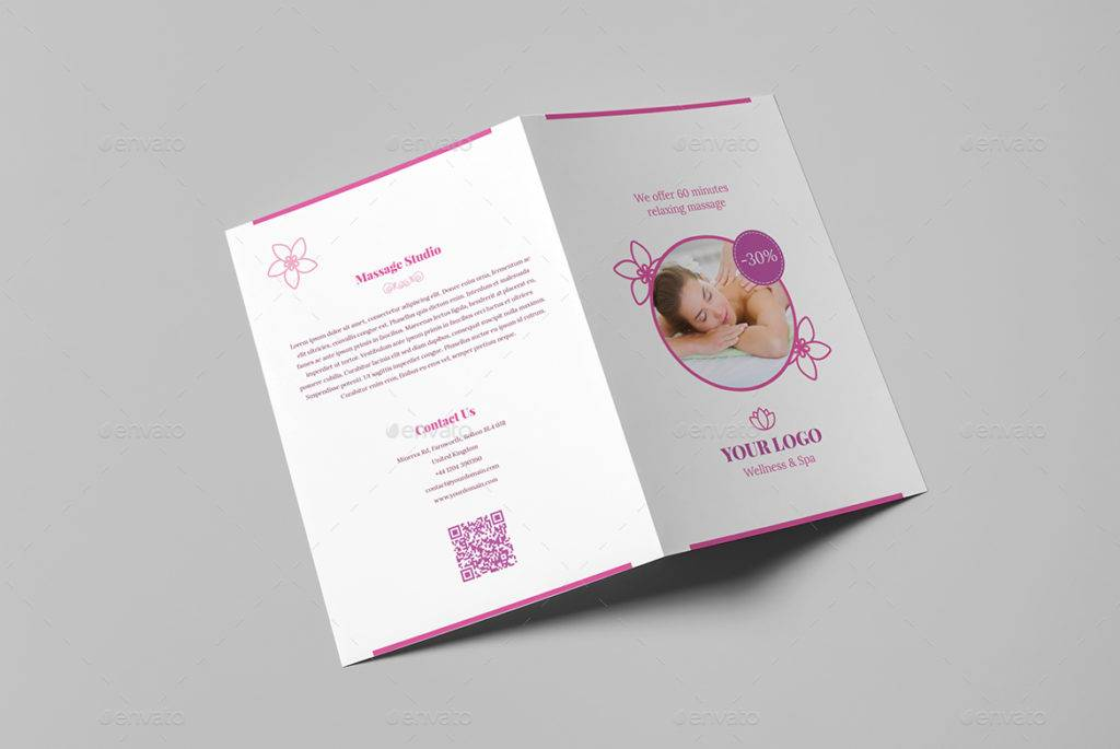 wellness and spa massage studio bi fold brochure example