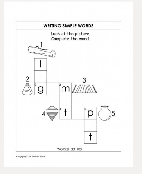 writing simple words sample worksheet1