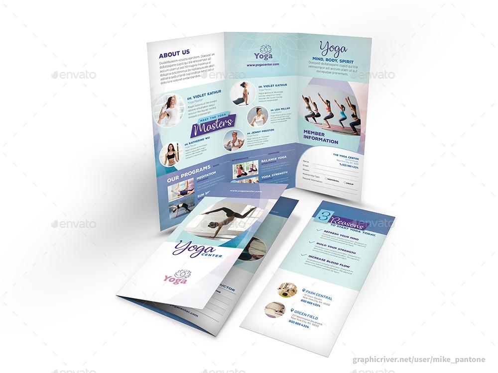 yoga studio trifold brochure