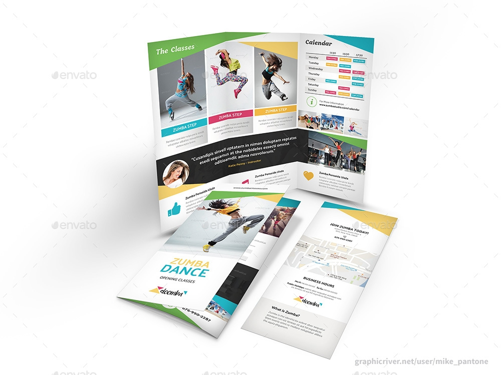 zumba studio trifold brochure