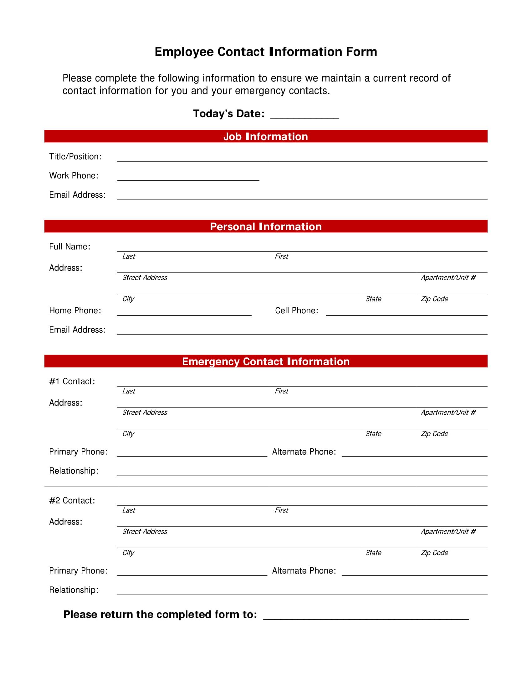 employee contact list template 1
