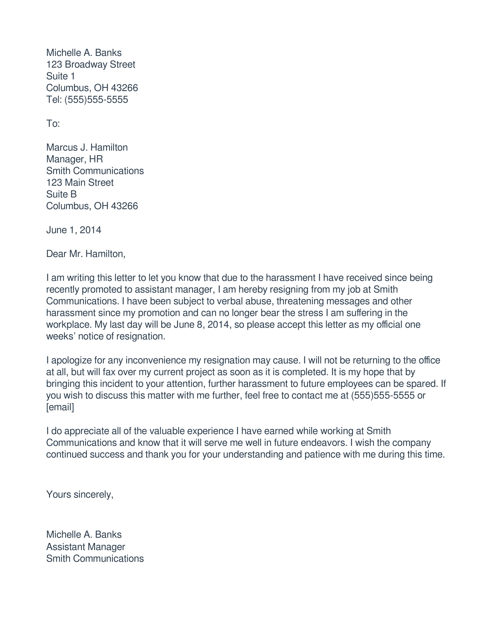 immediate resigantion letter due to harassment 1