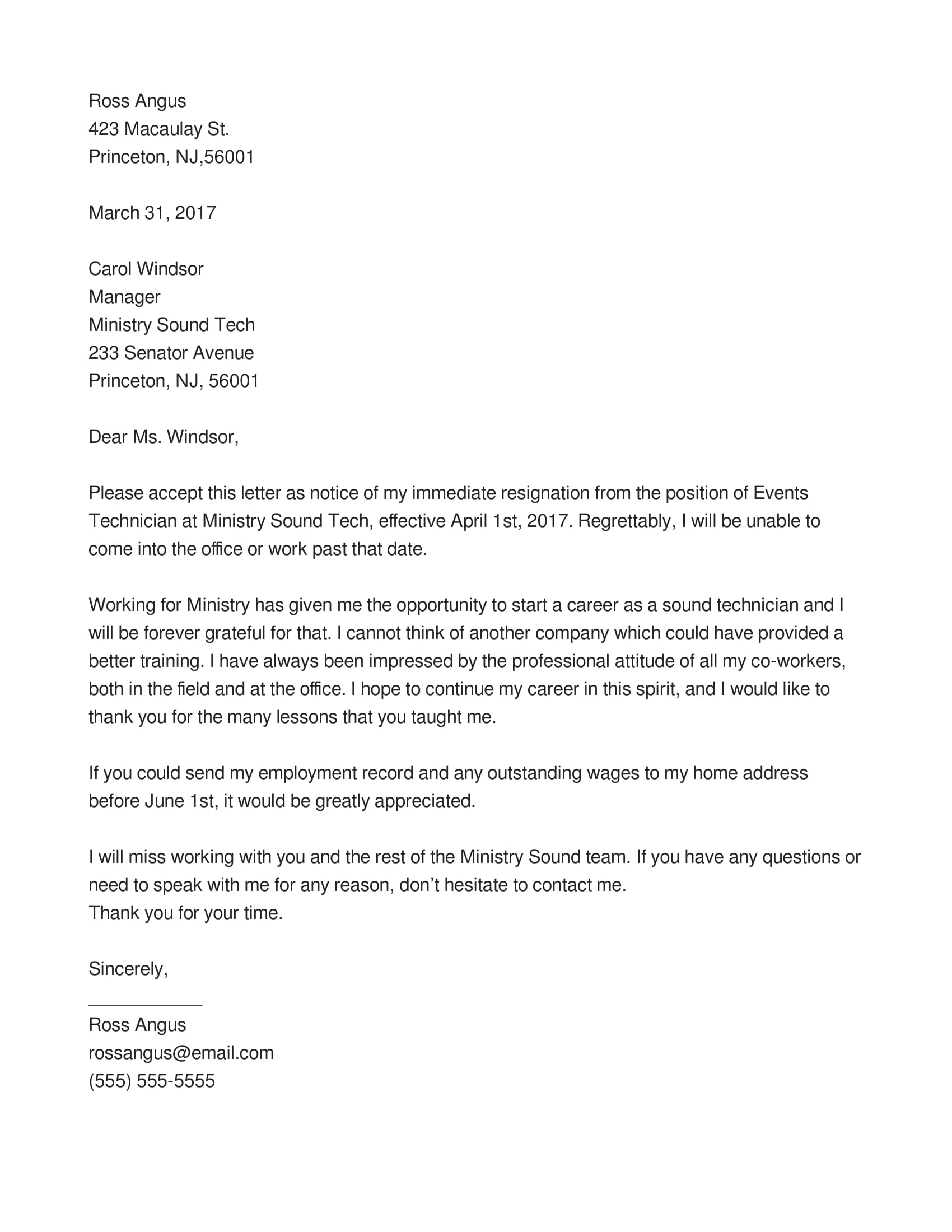 Wonderful Immediate Resignation Letter 1