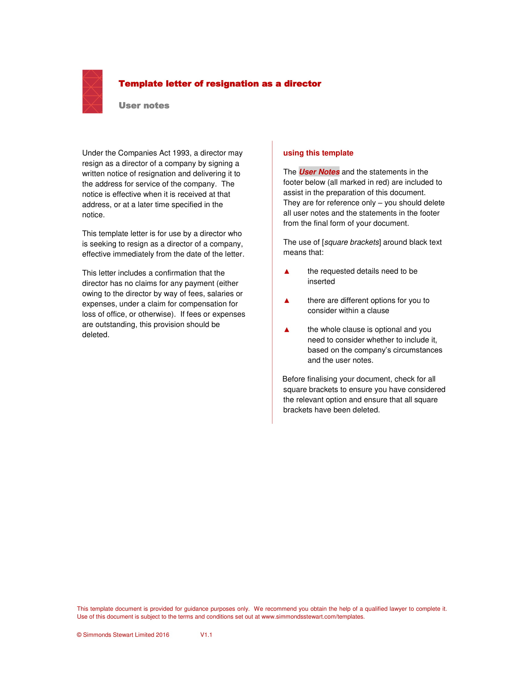 director resignation letter sample pdf