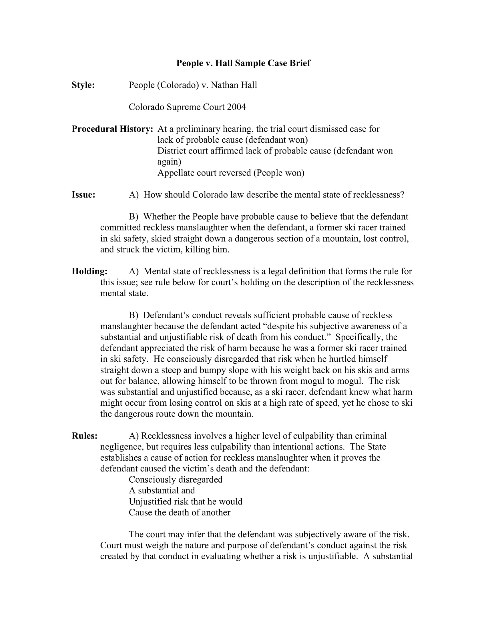 people v hall sample case brief pdf 1