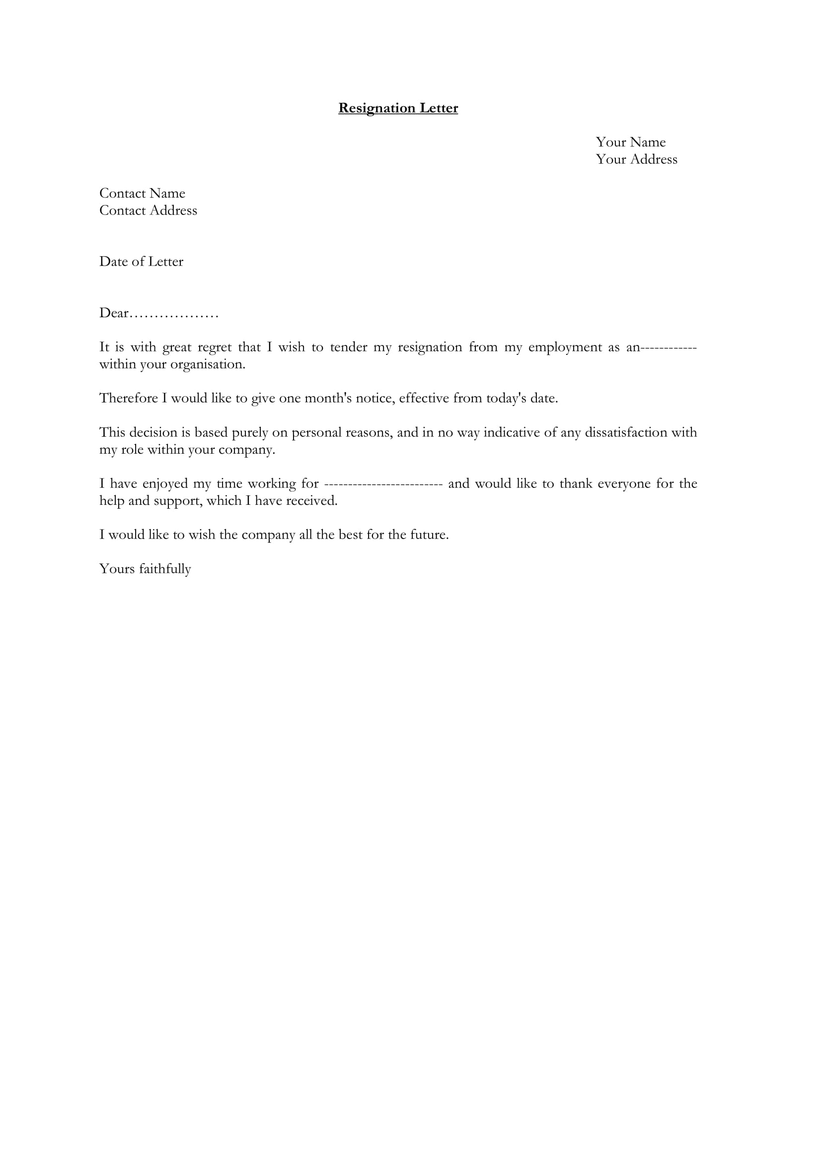example of a resignation letter