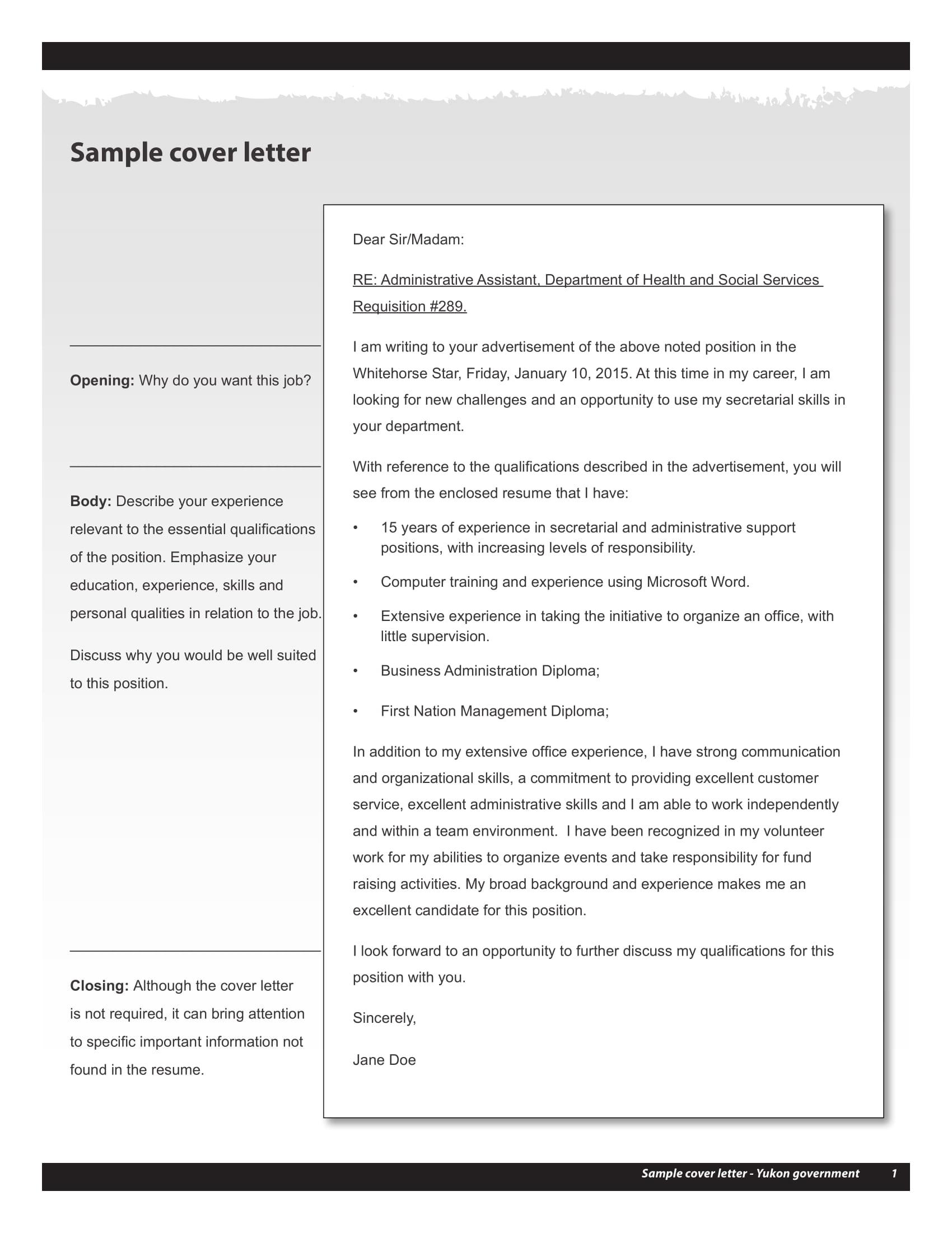 19 job application letter examples pdf