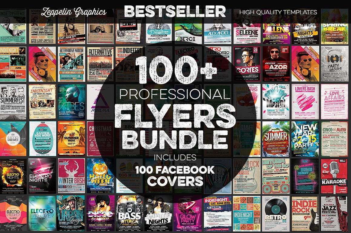 100 professional flyers bundle example