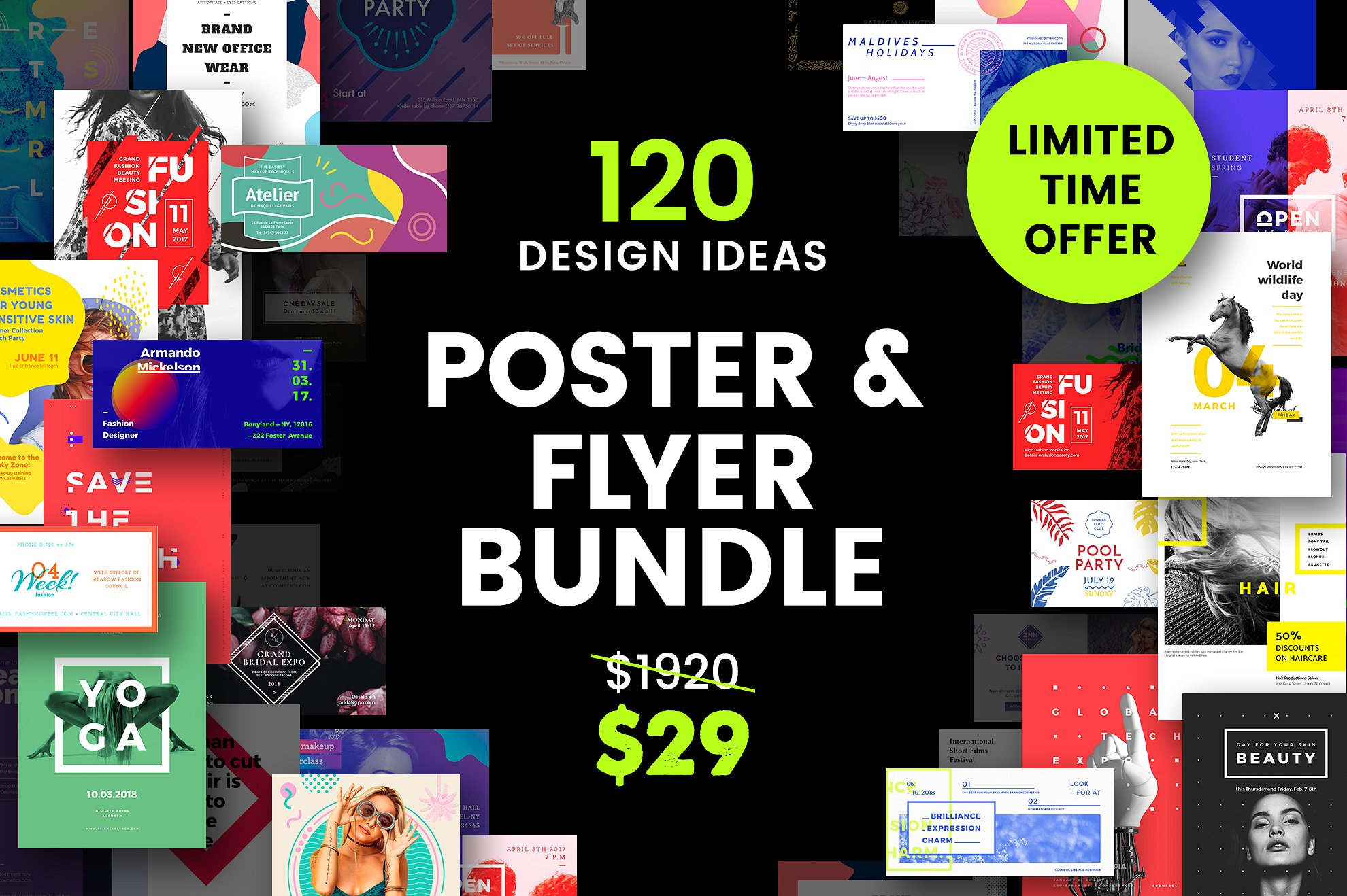 120 design ideas poster and flyer bundle example