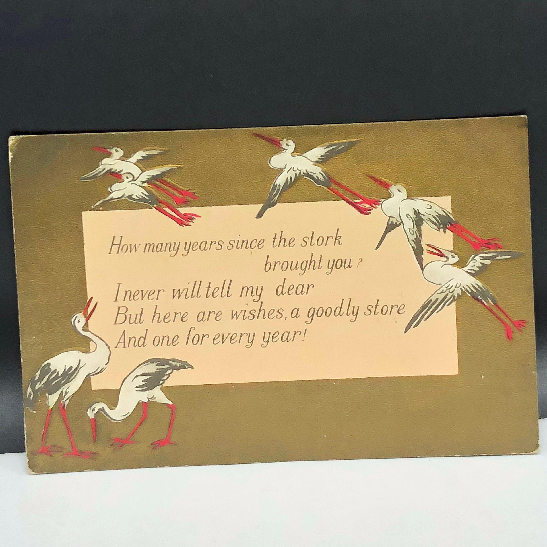 1909 stork baby postcard example