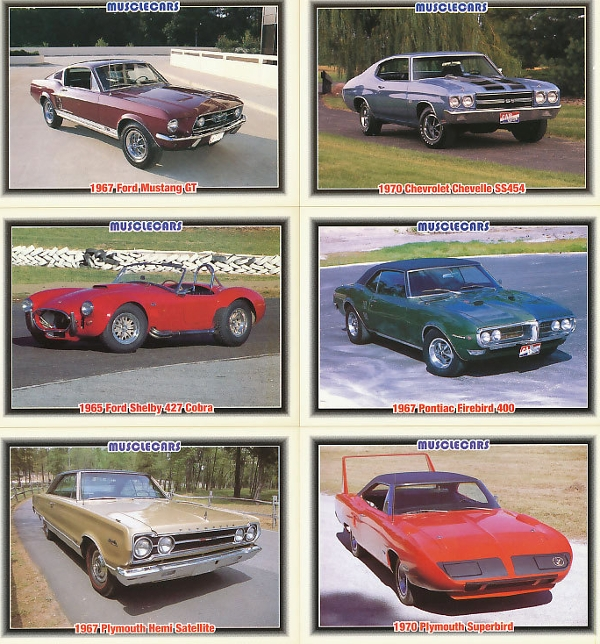 1992 muscle cars trading card example
