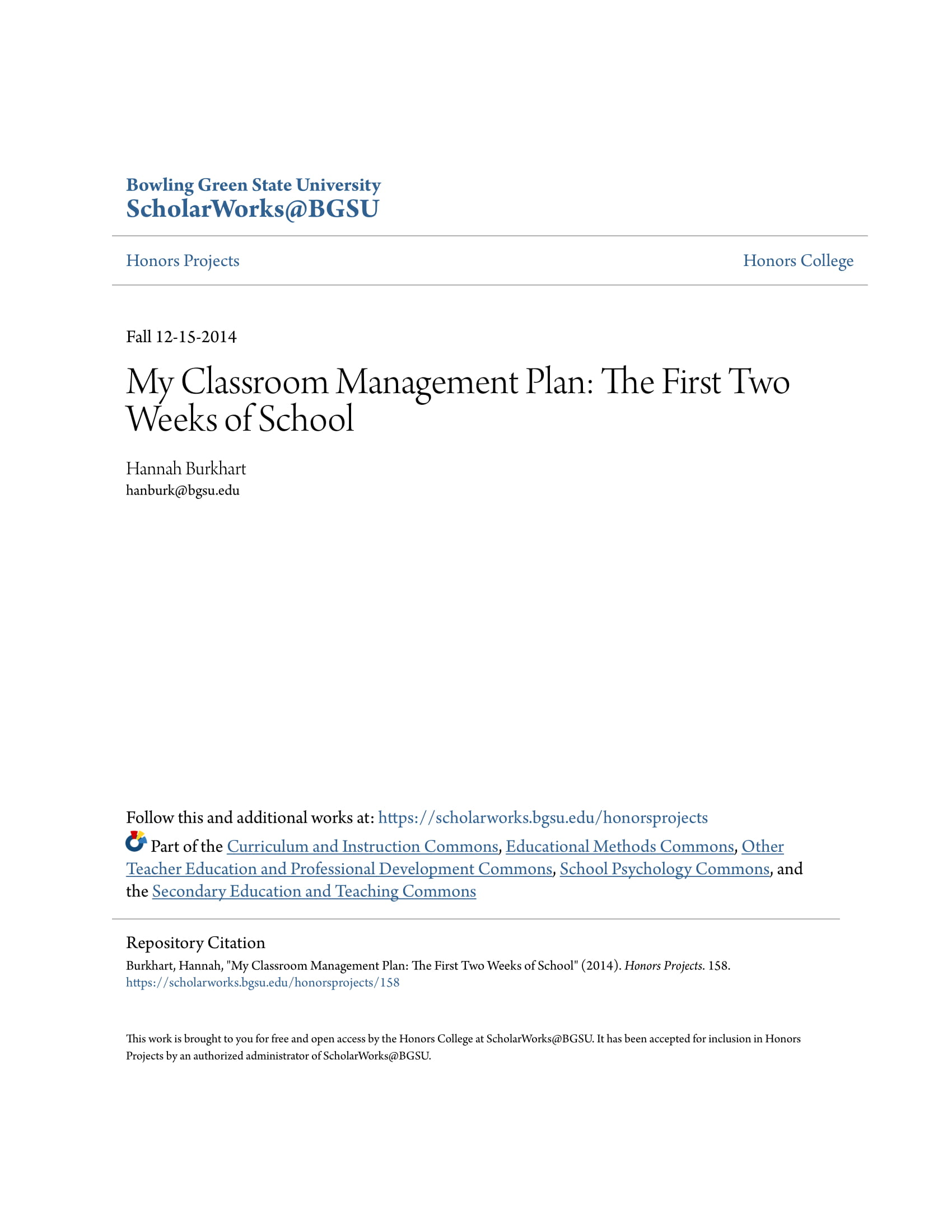2 week classroom management plan example