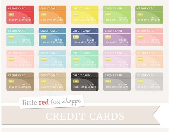 20 colored debit card set example2