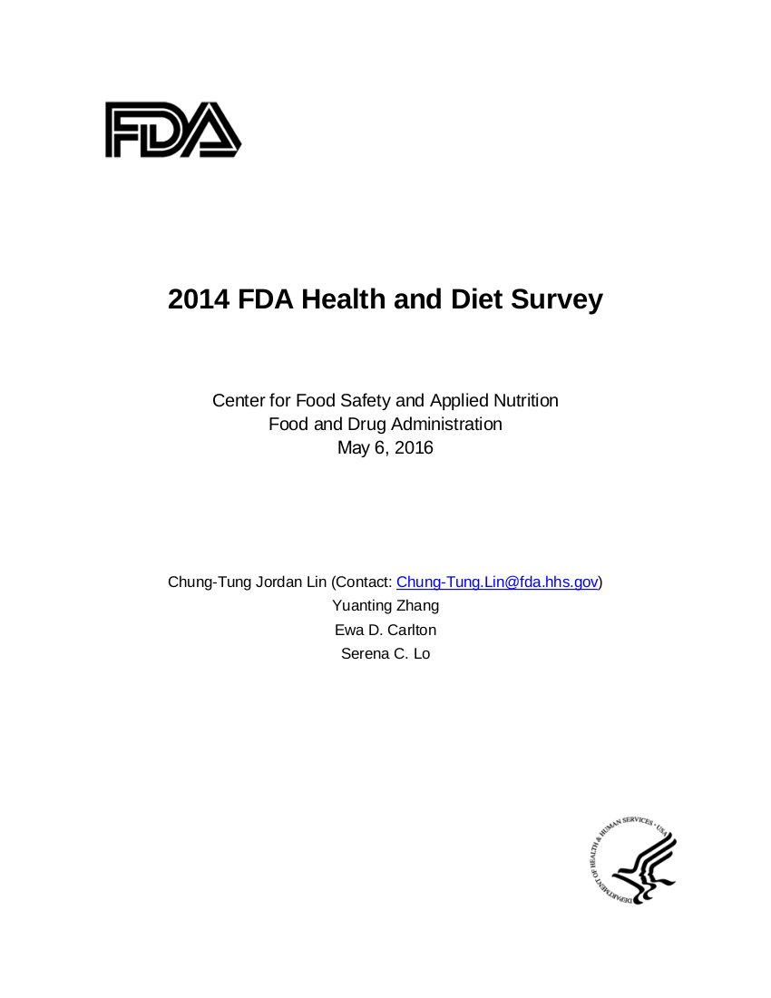 2014 fda health and diet survey example