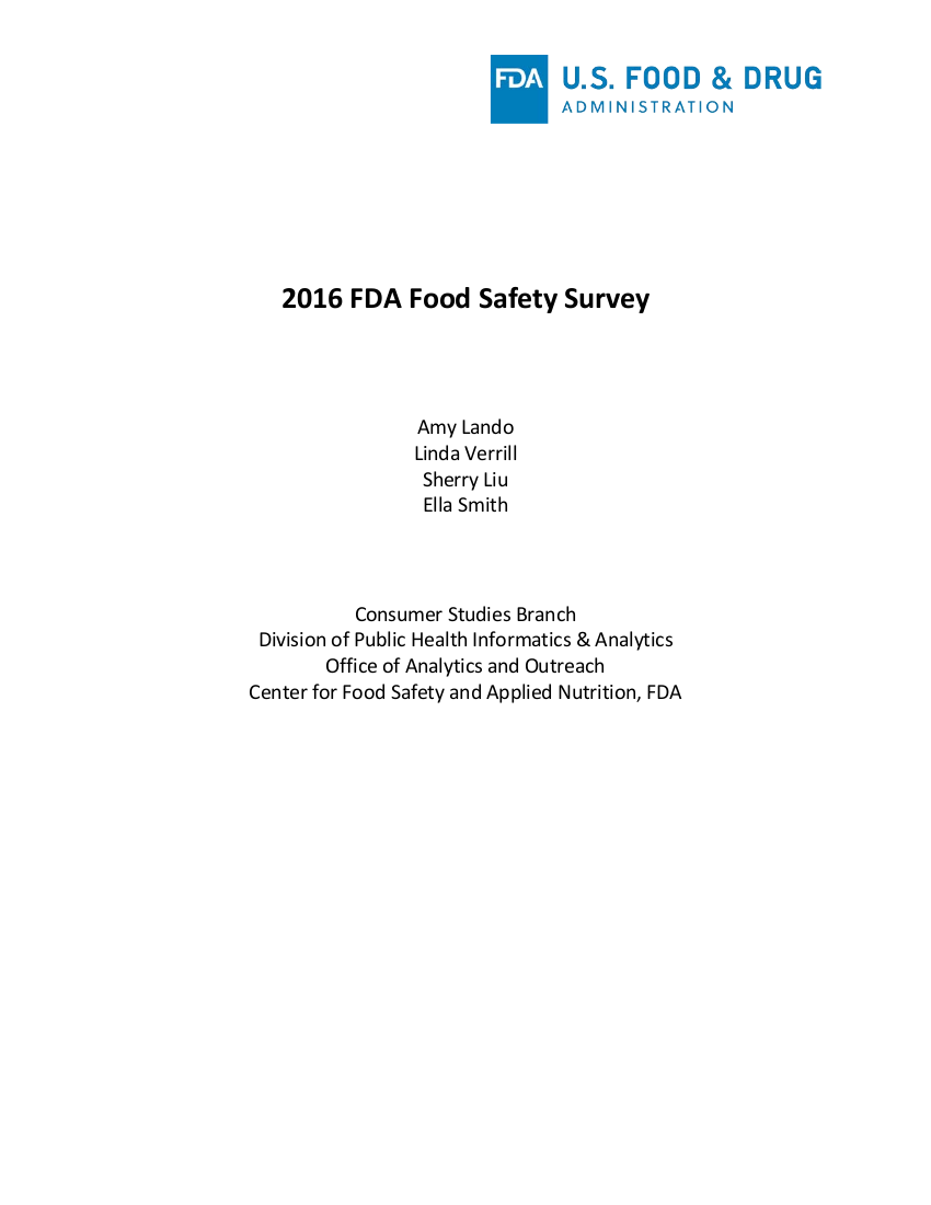 2016 fda food safety survey example