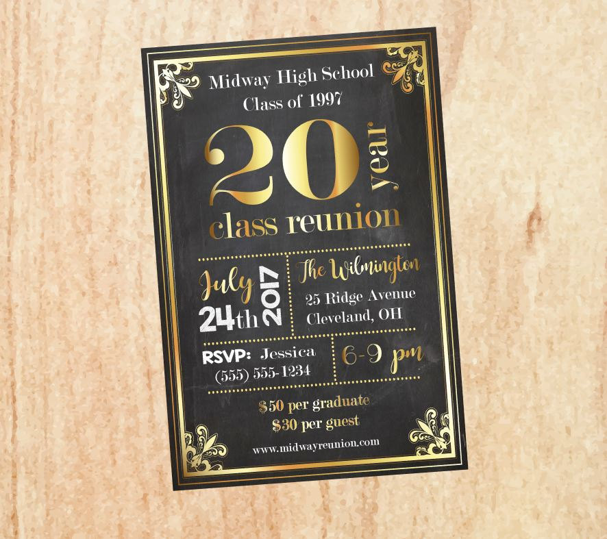20th year golden reunion invitation example
