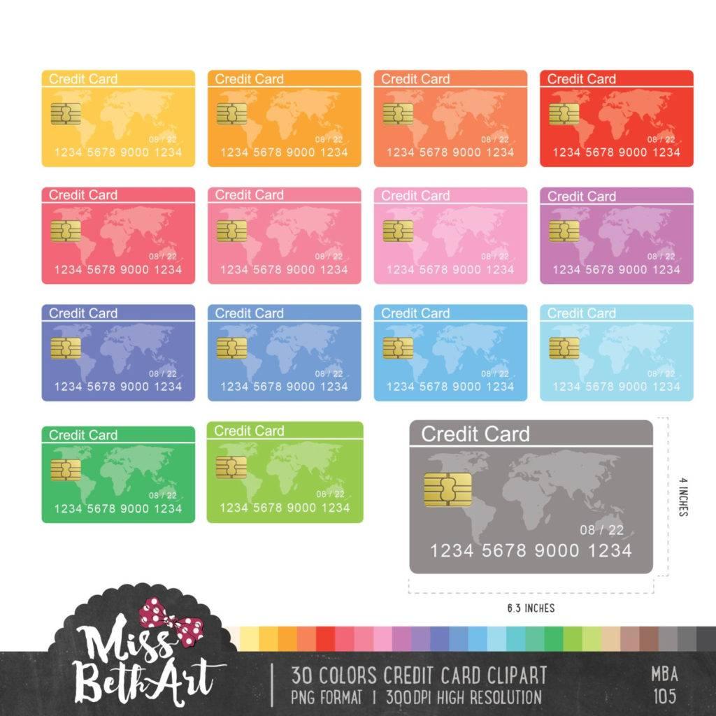 30 colors credit card clipart