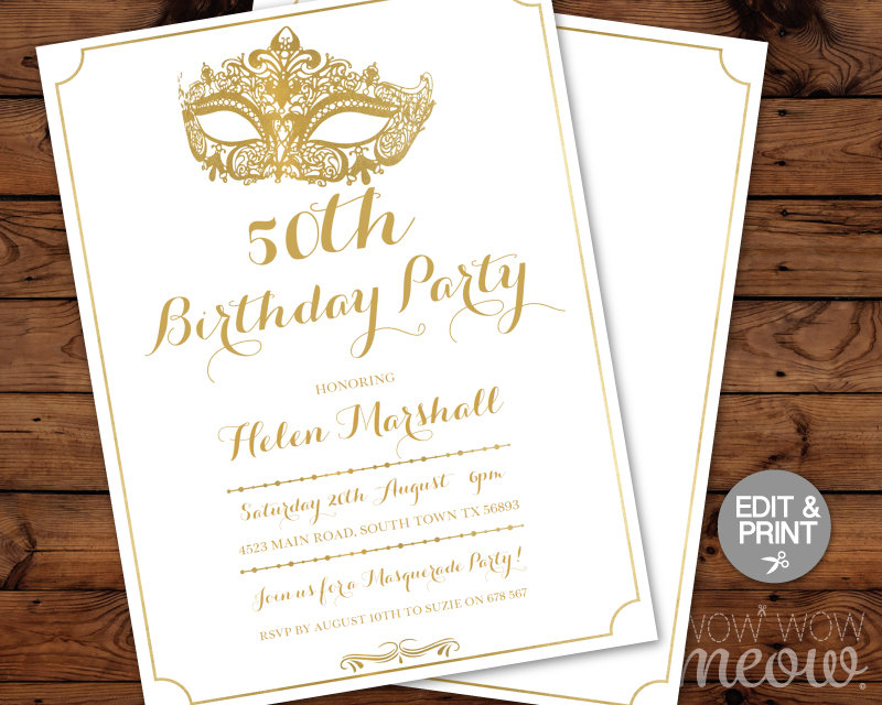 50th birthday masquerade ball invitation