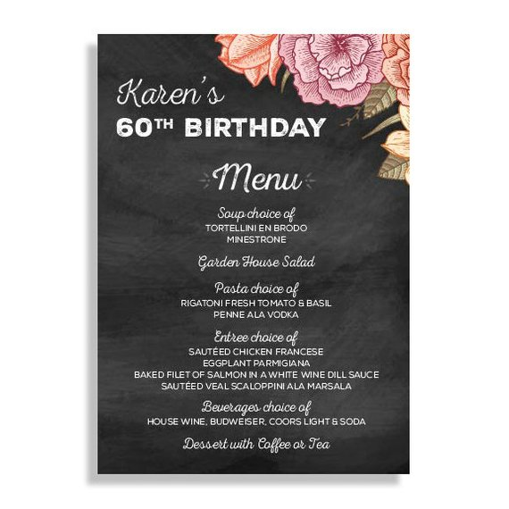 60th birthday menu example