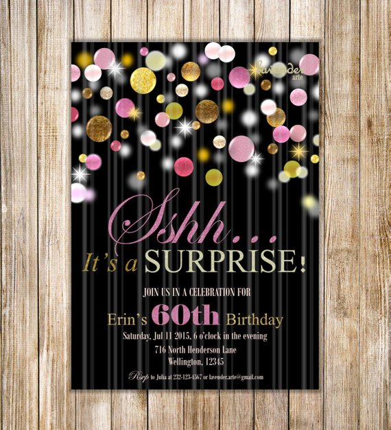 60th surprise birthday party invitation example