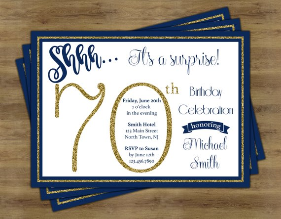 70th surprise birthday party invitation example