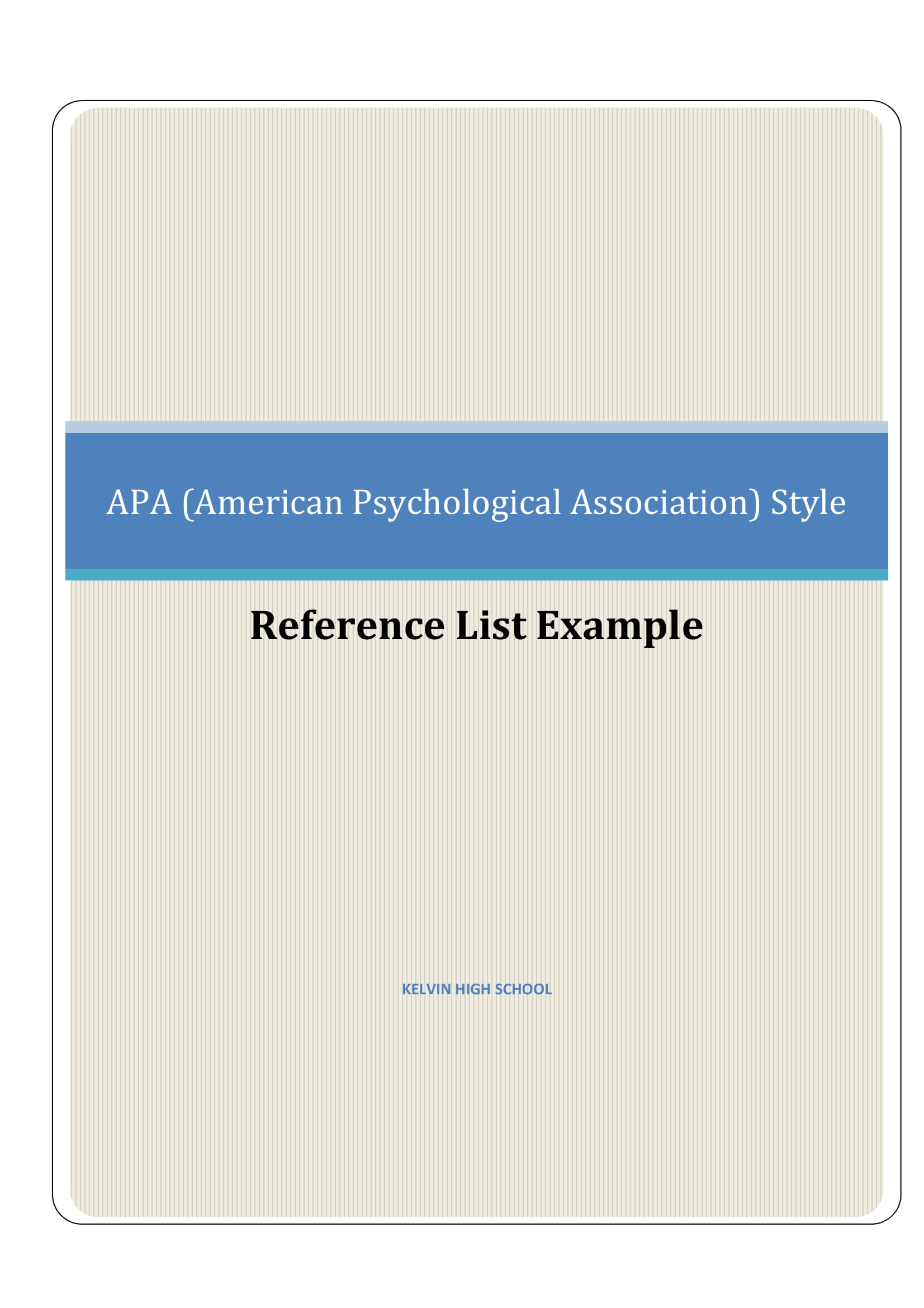 apa referencing guide and reference list example