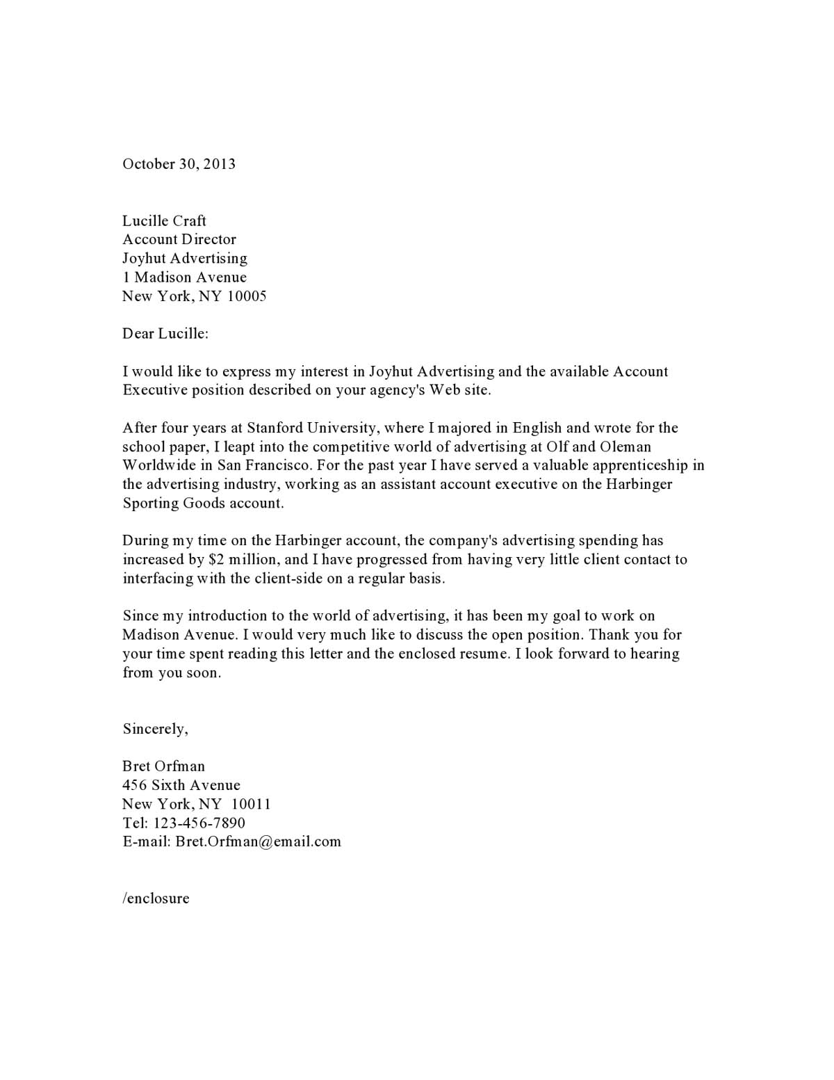 account executive resume cover letter example - Email Cover Letter Example