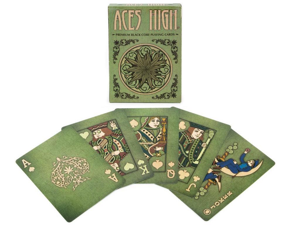 aces high green marijuana theme playing cards
