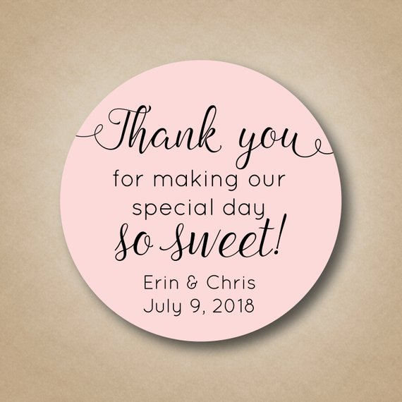 adorable thank you wedding labels