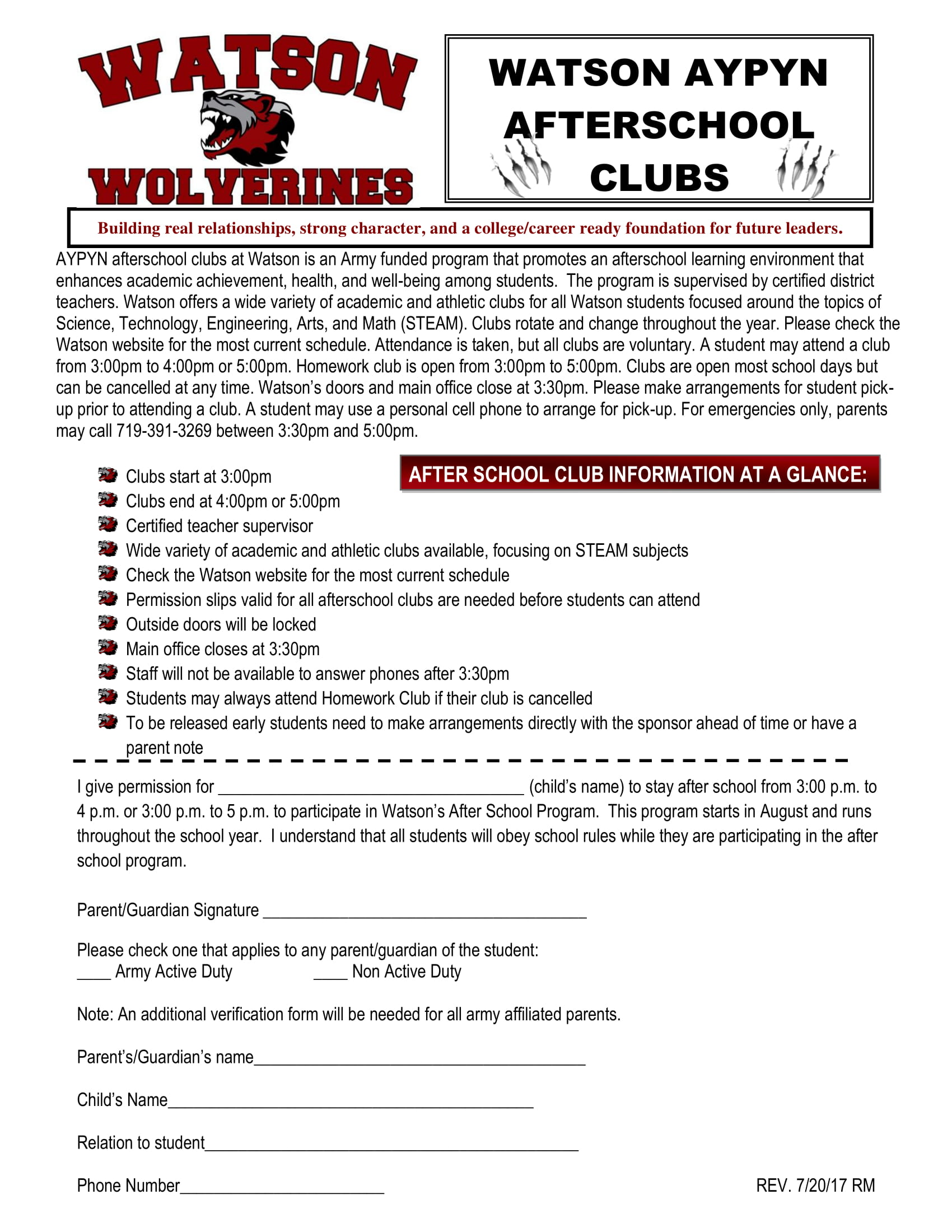 after school club permission slip example