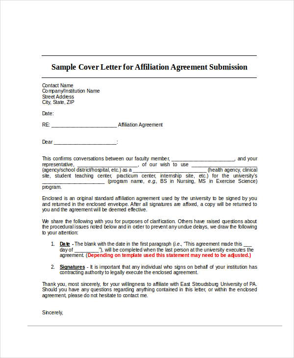 agreement submission agreement letter example