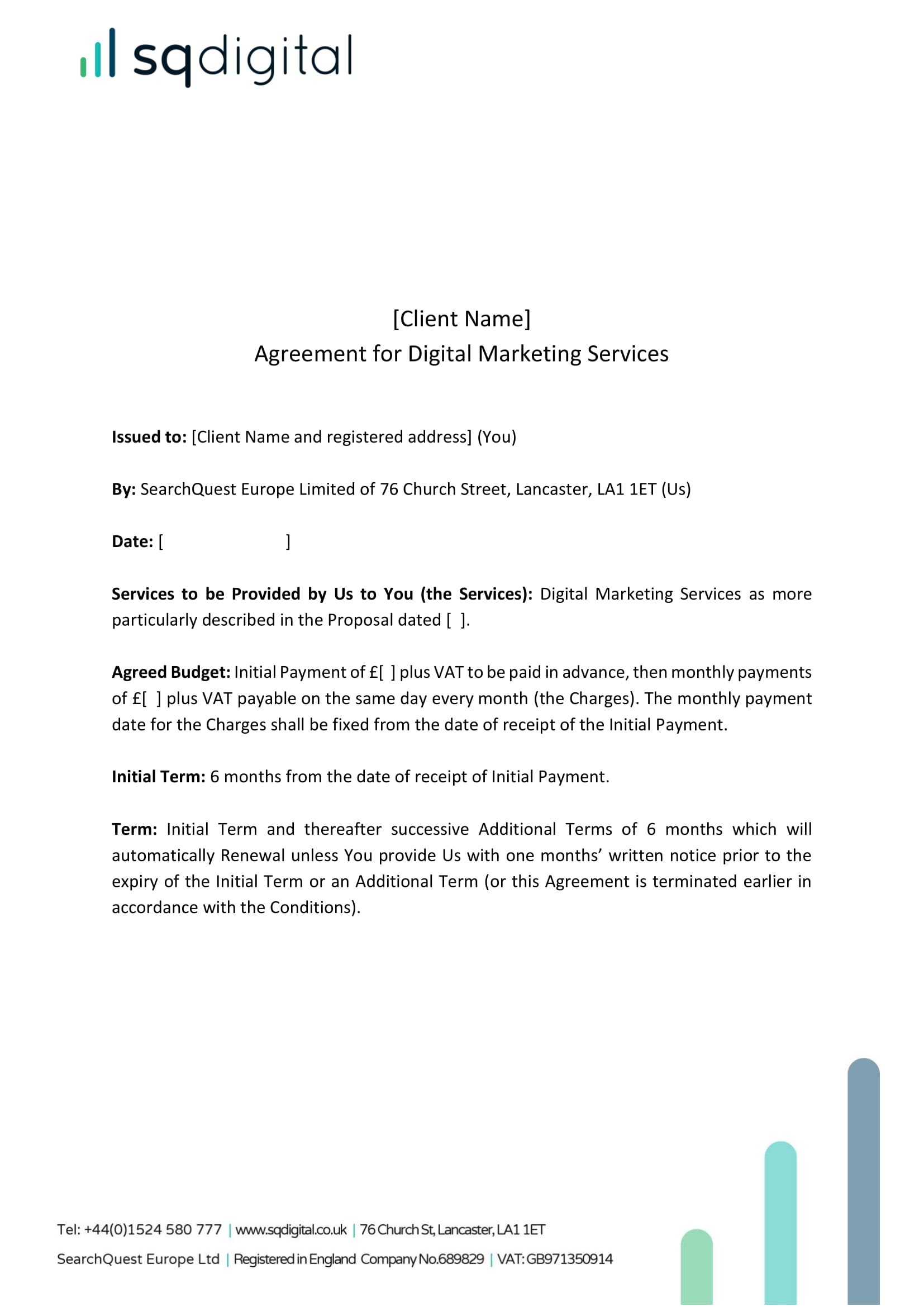 agreement for digital marketing services example