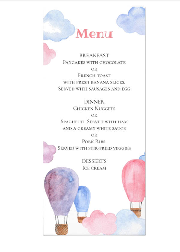 air balloon kids menu children birthday party menu