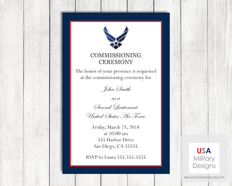air force commissioning ceremony invitation and announcement
