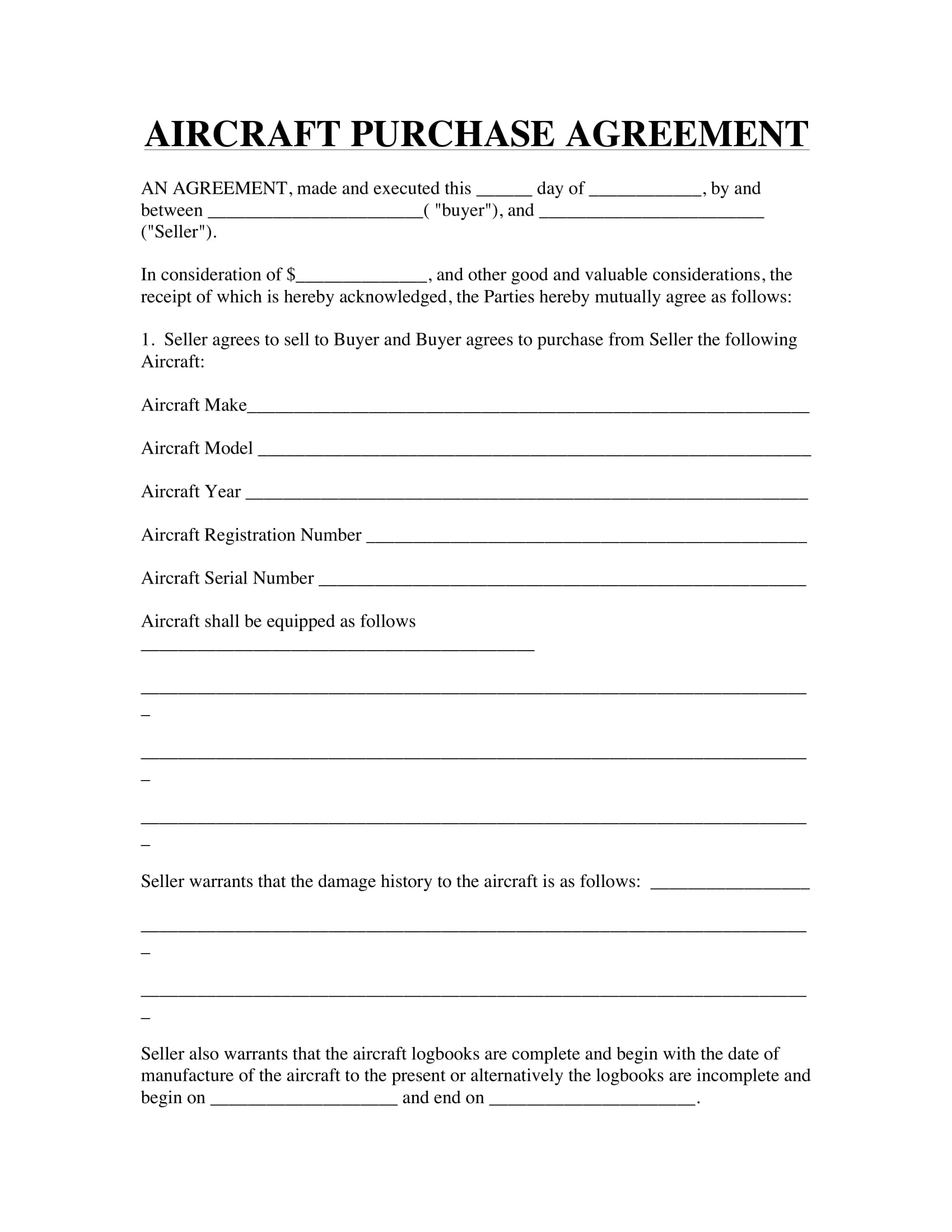 aircraft purchase agreement example