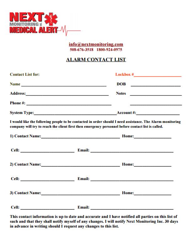 alarm contact list