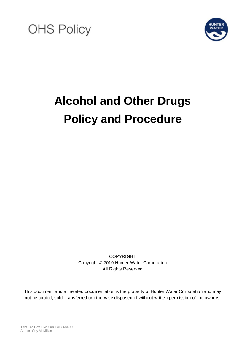 alcohol and other drugs policy and procedure examples