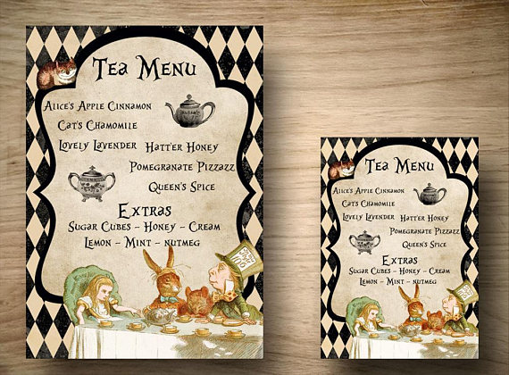 alice in wonderland tea menu example